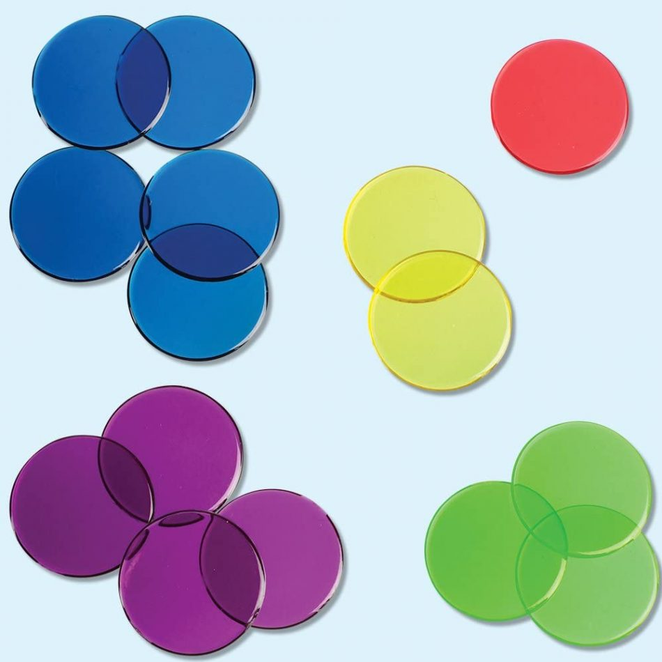 fichas de colores para mesas de luz montessori